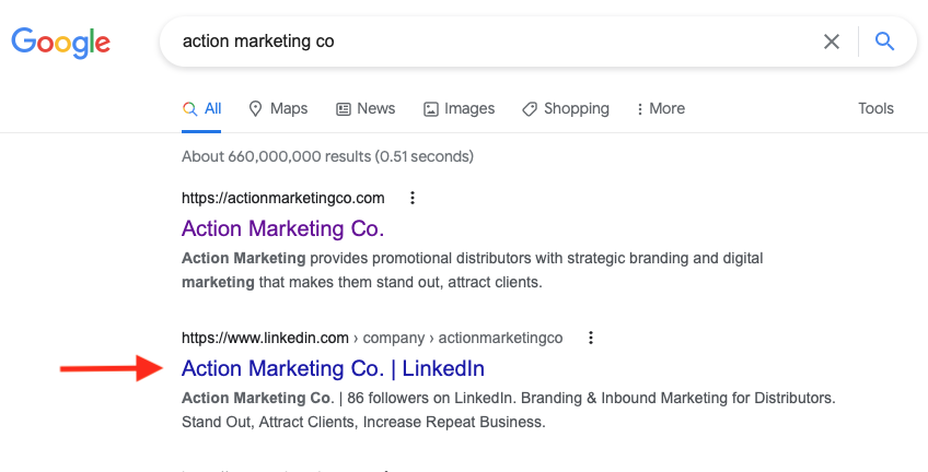 LinkedIn page listing in search results